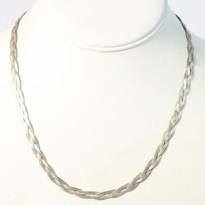 Sterling Silver Braided Herringbone Chain Necklace